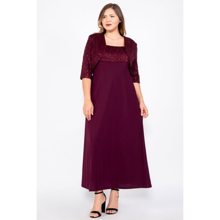 R&M Richards Long Plus Size Formal Mother of the Bride