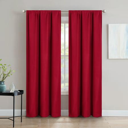 "SUN+BLK Foam Back Blackout Rod Pocket Curtain Panel Pair 42""x84"""