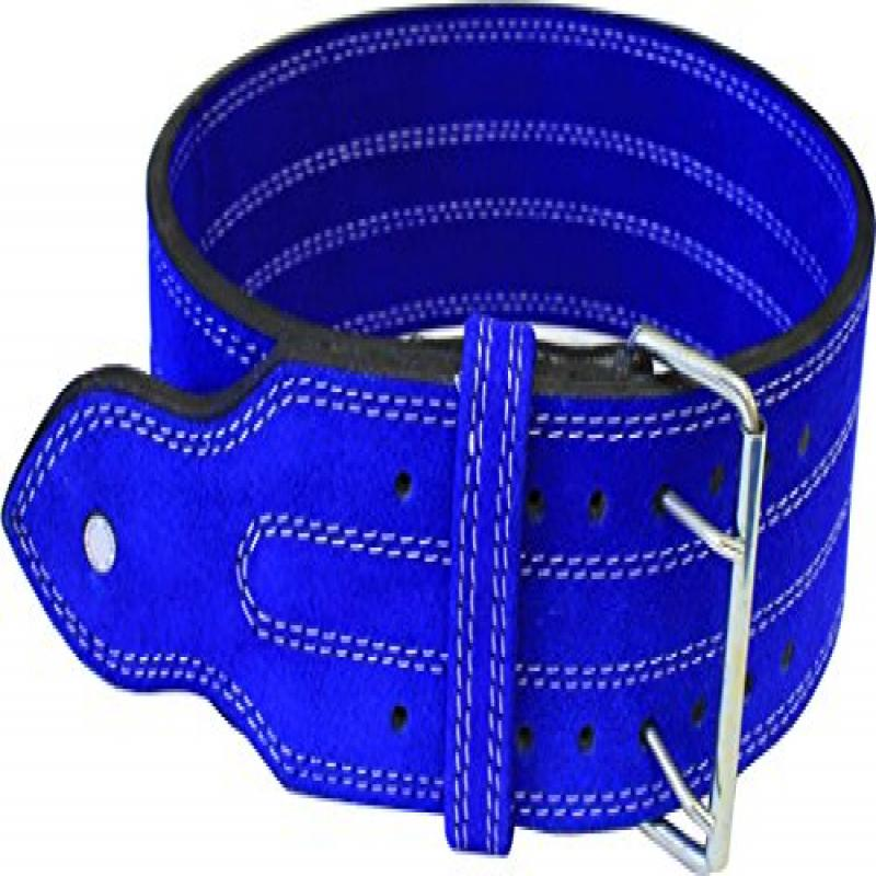 "Ader Leather Power Weight Lifting Belt- 4"" Blue (Medium)"