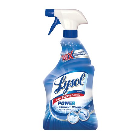 Lysol Power Bathroom Cleaner Spray, Powers Through Soap Scum, (Cleaning Soap Scum Off Glass Shower Doors)