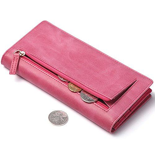 Genuine Leather Men Women Wallet Zip Around RFID Bifold Slim Credit Card Holder