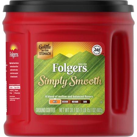 Folgers Caffeine Free Coffee (Folgers Simply Smooth Ground Coffee, 31.1-Ounce)