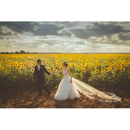 Canvas Print Love Groom Field Bride Couple Outdoors Landscape Stretched Canvas 10 x 14 (Halloween Costumes Bride And Groom Corpse)