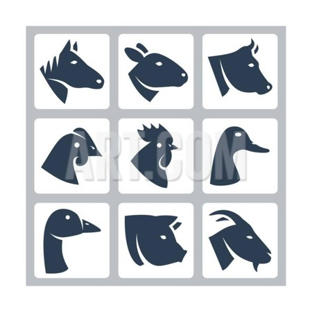 Vector Domesticated Animals Icons Set: Horse, Sheep, Cow, Chicken, Rooster, Duck, Goose, Pig, Goat Print Wall Art By GreyJ