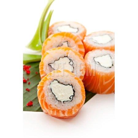 - American Maki Sushi - Philadelphia Roll Made of Cream Cheese  Inside. Fresh Raw Salmon Outside Print Wall Art By svry