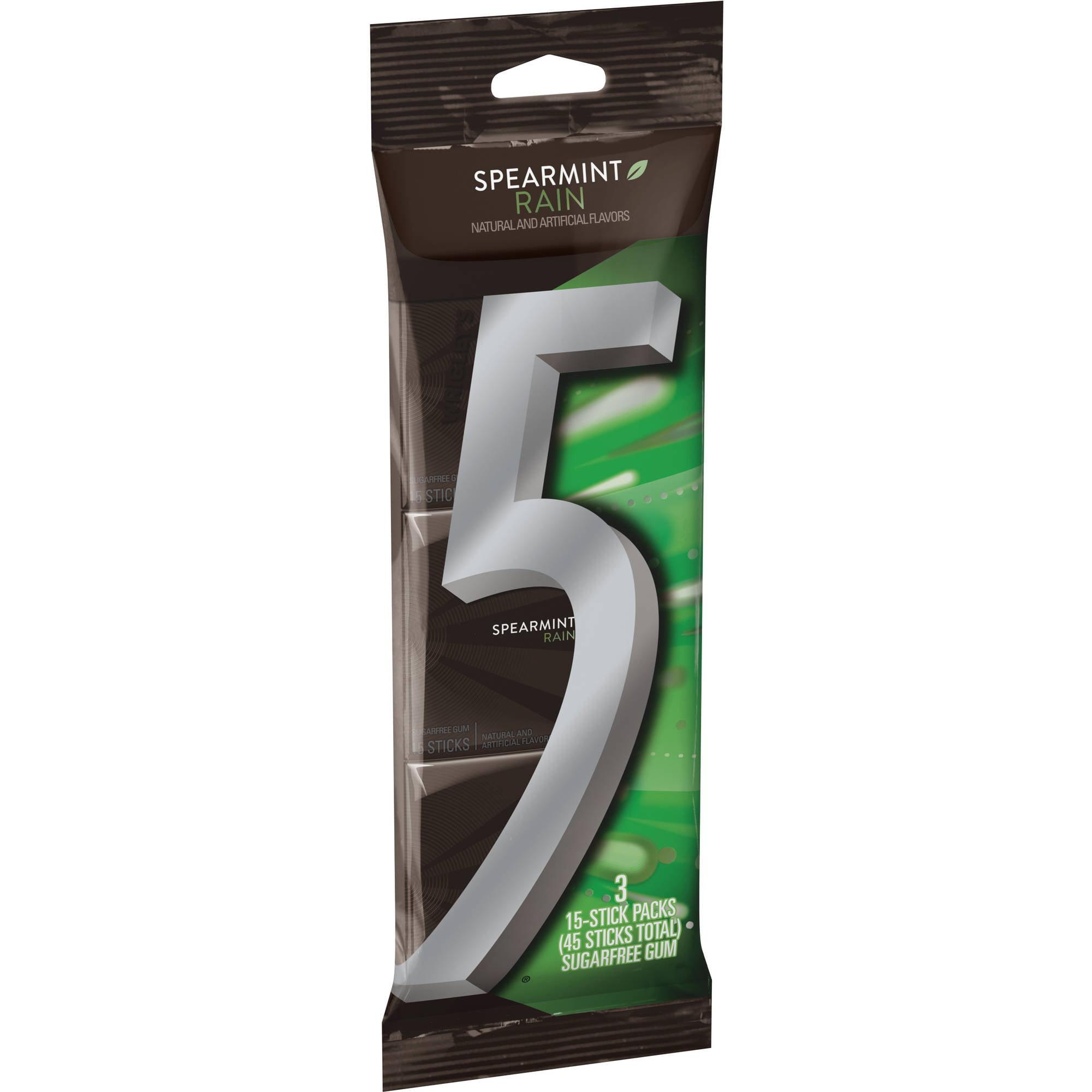 Wm. Wrigley Jr. Company 5 Gum Spearmint Rain Sugarfree Gum, Multipack (3 Packs Total)