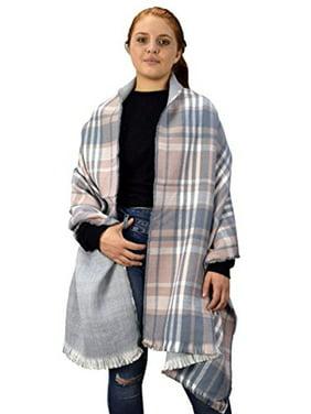 Peach Couture Plaid Tartan Herringbone Reversible Winter Blanket Scarf