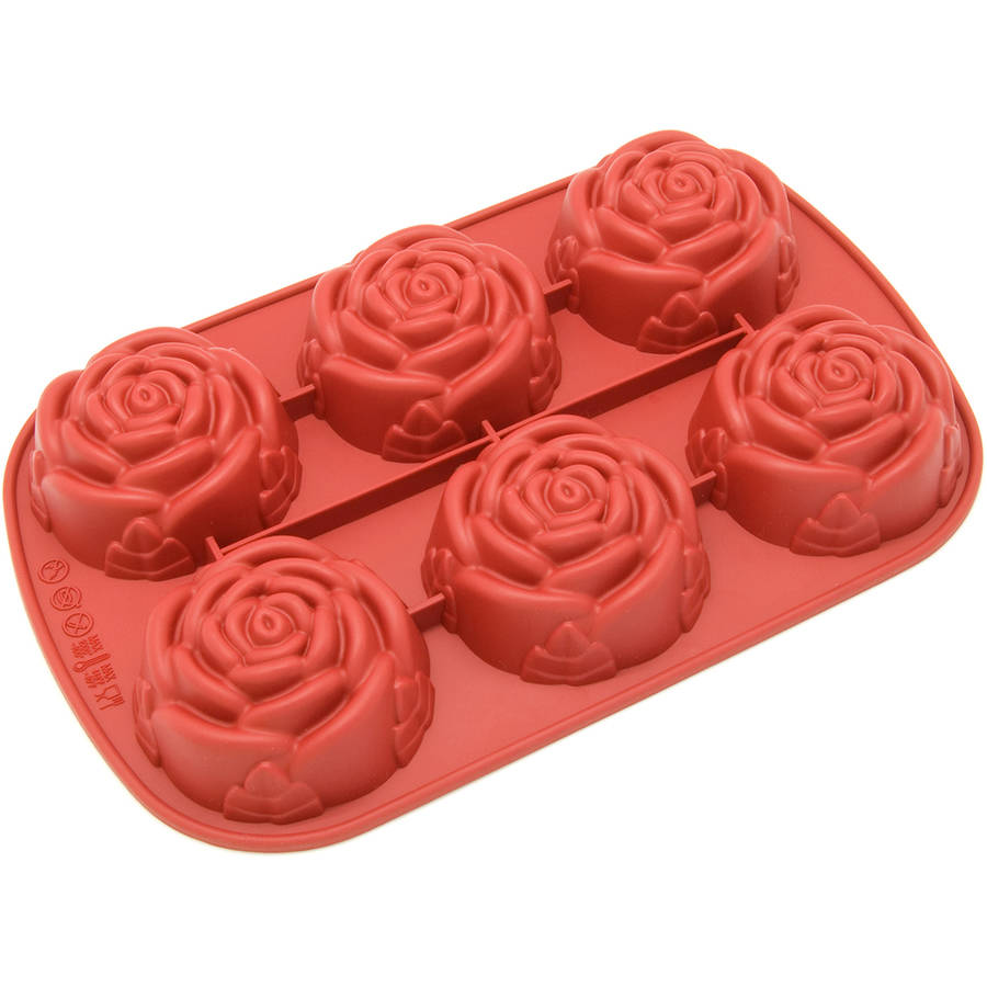 Freshware 6-Cavity Rose Silicone Mold for Muffin, Soap, Brownie, Cornbread, Cheesecake and Pudding, CB-205RD