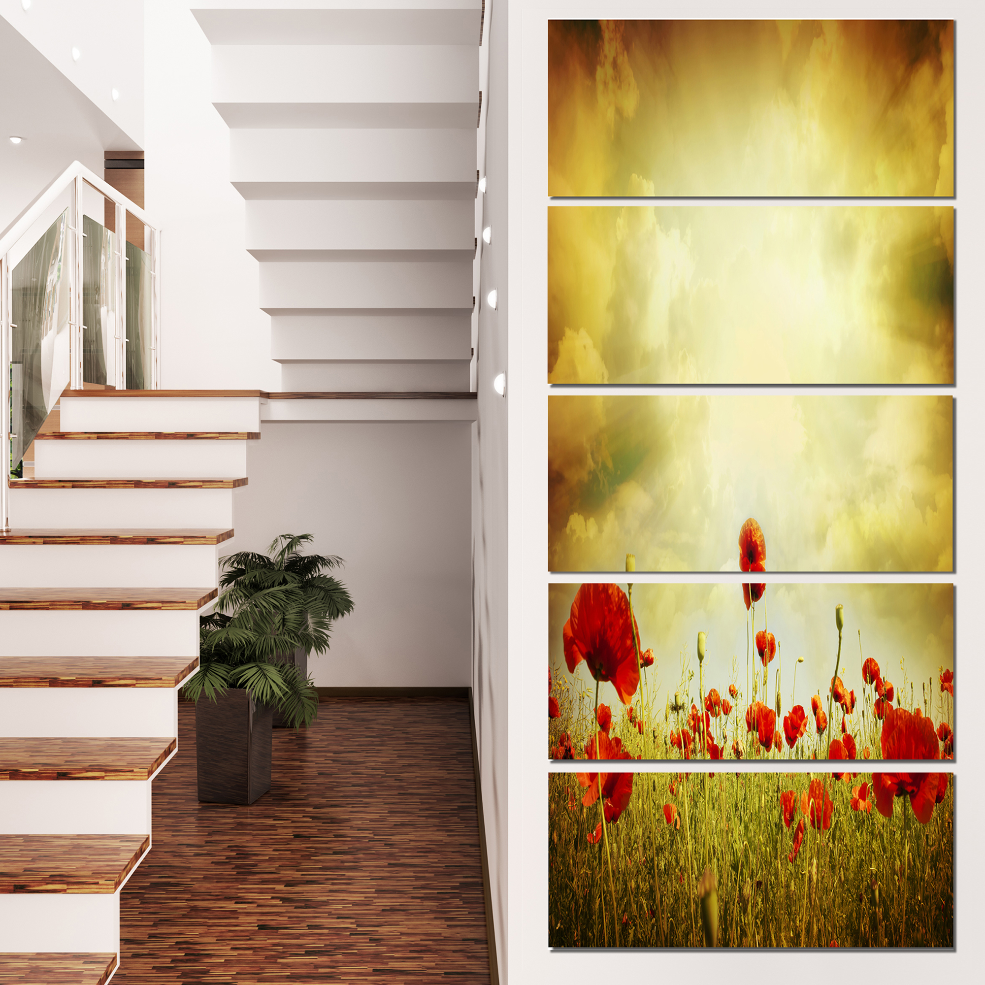 Red Poppies on Grunge Background - Floral Canvas Art Print - image 3 de 3