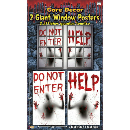 Bloody Window Posters - 2Pcs](Halloween Window Displays)