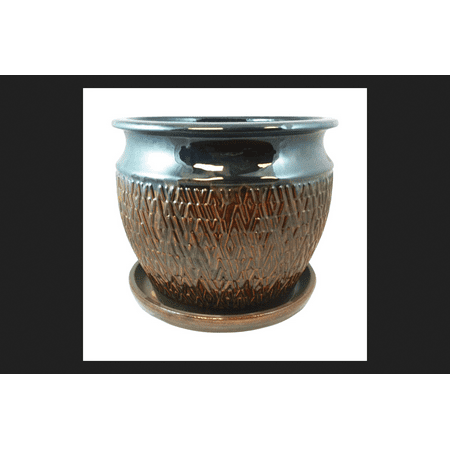 Textured Pottery - Lee's Pottery Blue Ceramic Textured Studio Glazed Planter
