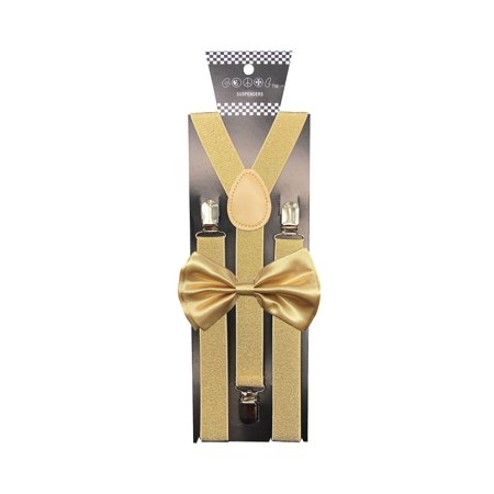 Adult Unisex Gold Glitter Suspenders with Matching Gold Metallic Bow Tie Set Wedding Prom