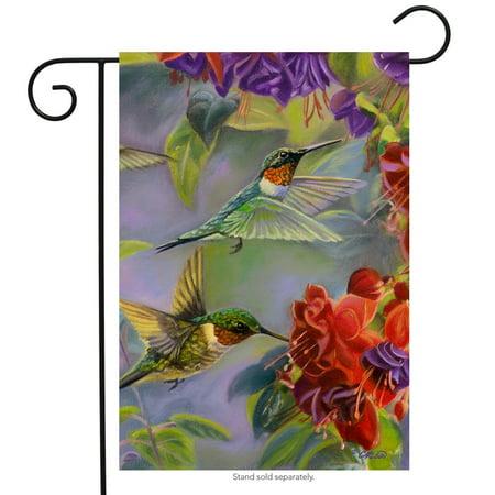 Garden Flags Spring (Hummingbird Spring Garden Flag Vibrant Flowers Flying Wildlife 12.5