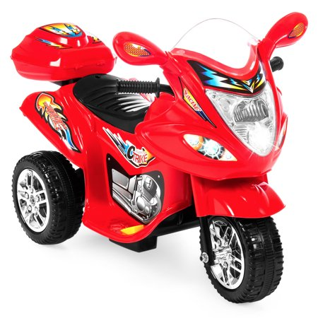 - Best Choice Products 6V Kids Battery Powered Electric 3-Wheel Motorcycle Bike Ride-On Toy w/ LED Lights, Music, Horn, Storage  - Red