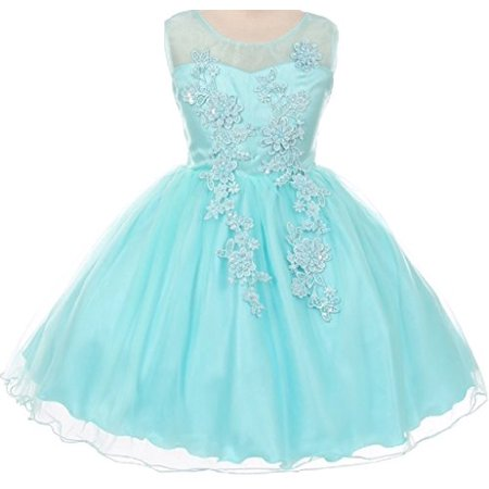 Big Girls' Special 3D Flowers Embroidered Flowers Girls Dresses Aqua 10 (J36K01)