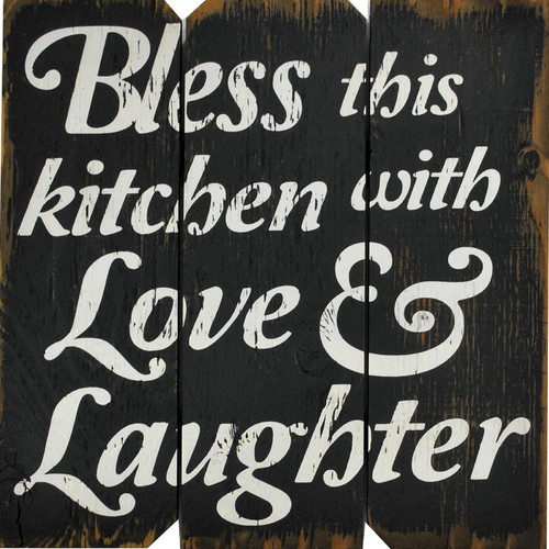 Boulder Innovations 'Bless This Kitchen with Love & Laughter' Textual Art on Plaque
