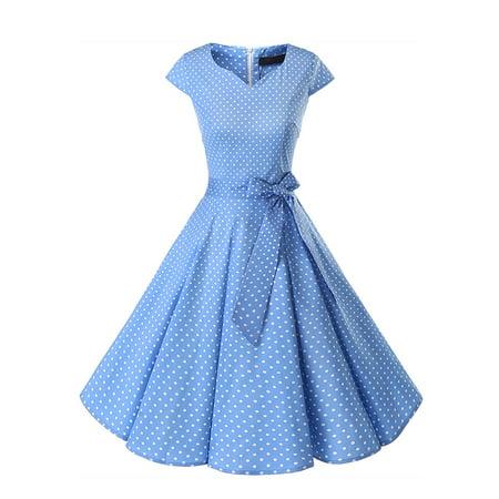 Women's Audrey Hepburn 50s Vintage Dress Cap Sleeve Rockabilly Swing Dress With Belt (The Ultimate Dress Store)