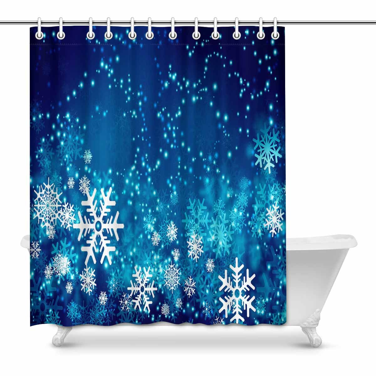 Pop Awesome Winter Abstract Snowflakes Shower Curtain 60x72 Inch