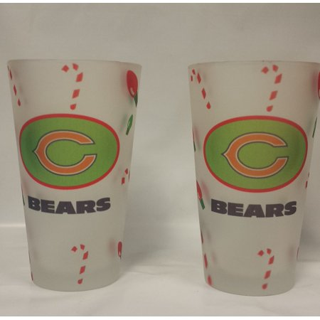 NFL Chicage Bears Christmas Frost Pint Glass, (Buy Clear Glasses)