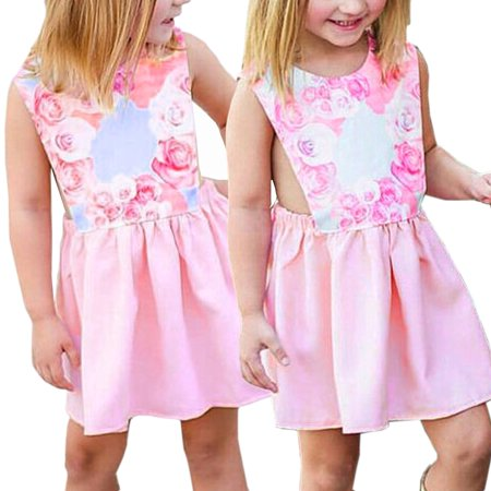 Baby Girls Floral Dress Kids Party Wedding Pageant Formal Dresses Sundress Clothes Pink 70 - 70 Party Clothes