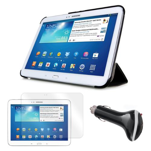 "Tri-Fold Leather Case with Screen Protector and Car Charger for Samsung Galaxy Tab 3 10.1"" Tablet"