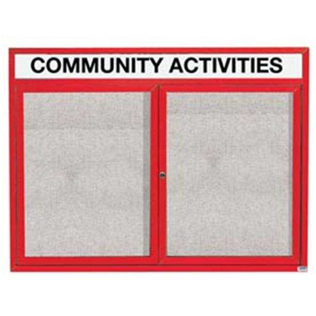 Aarco Products ODCC3648RHIR 48 inch W x 36 inch H Illuminated Outdoor Enclosed Bulletin Board - Red