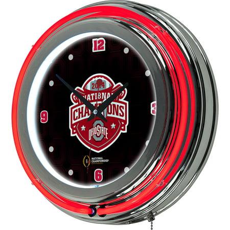 Ohio State University National Champions Chrome Neon Clock  Fade