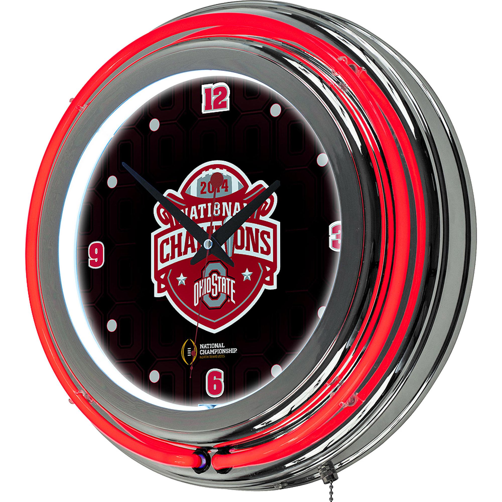 Ohio State University National Champions Chrome Neon Clock, Fade