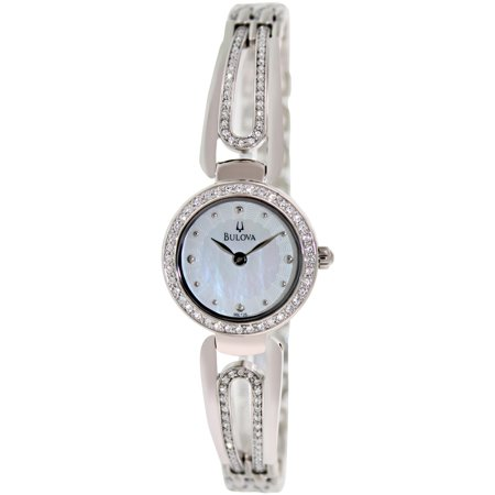 Bulova Women's Crystal 96L126 Silver Brass Plated Stainless-Steel Quartz Dress Watch