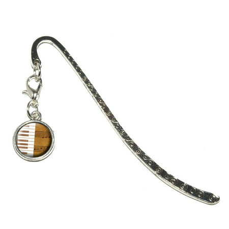 Piano Keys and Scales Gold - Music Notes Sheet Music Metal Bookmark with Charm
