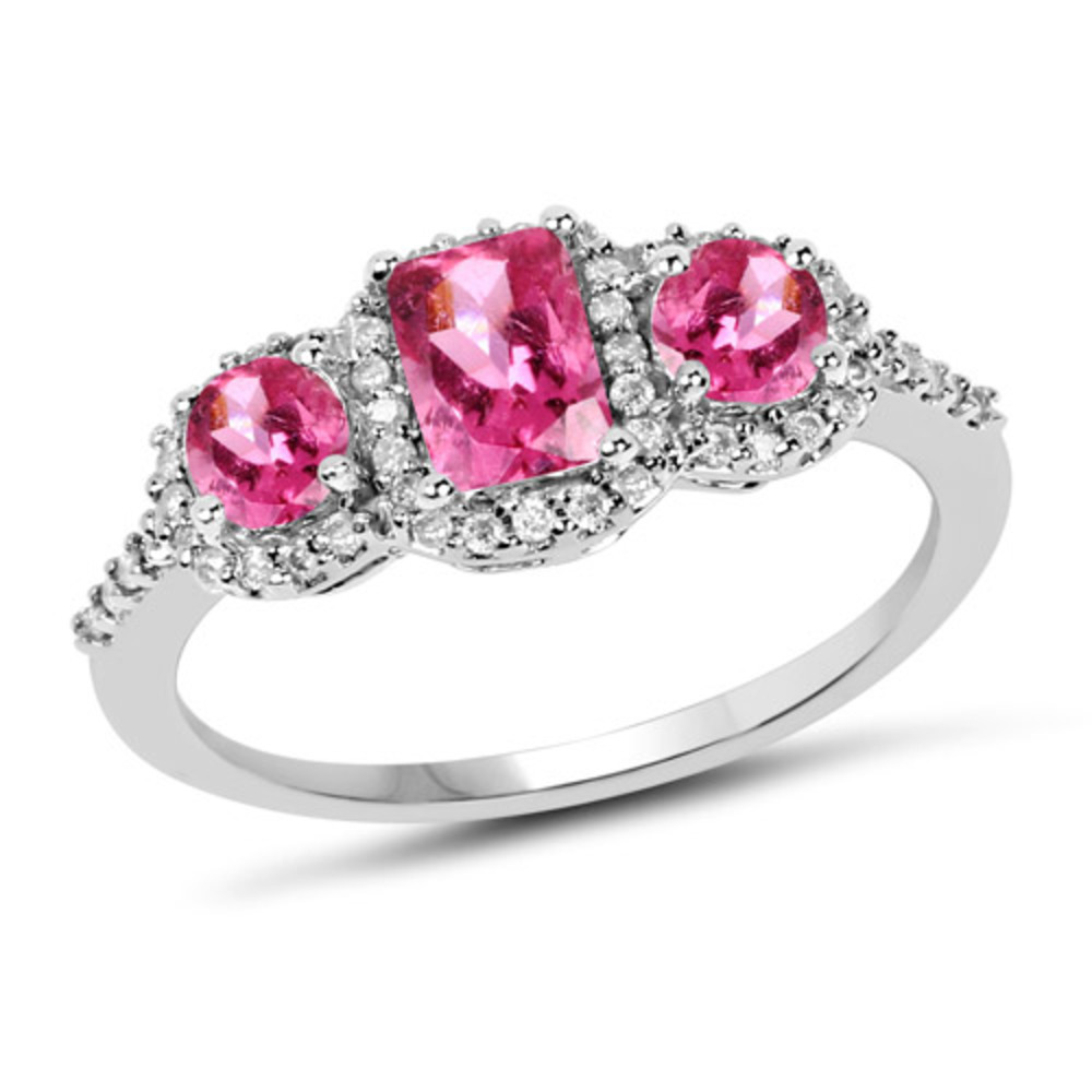 Genuine Octagon Pink Tourmaline and Pink Tourmaline Ring in 10k White Gold Size 8.00 by Bonyak Jewelry