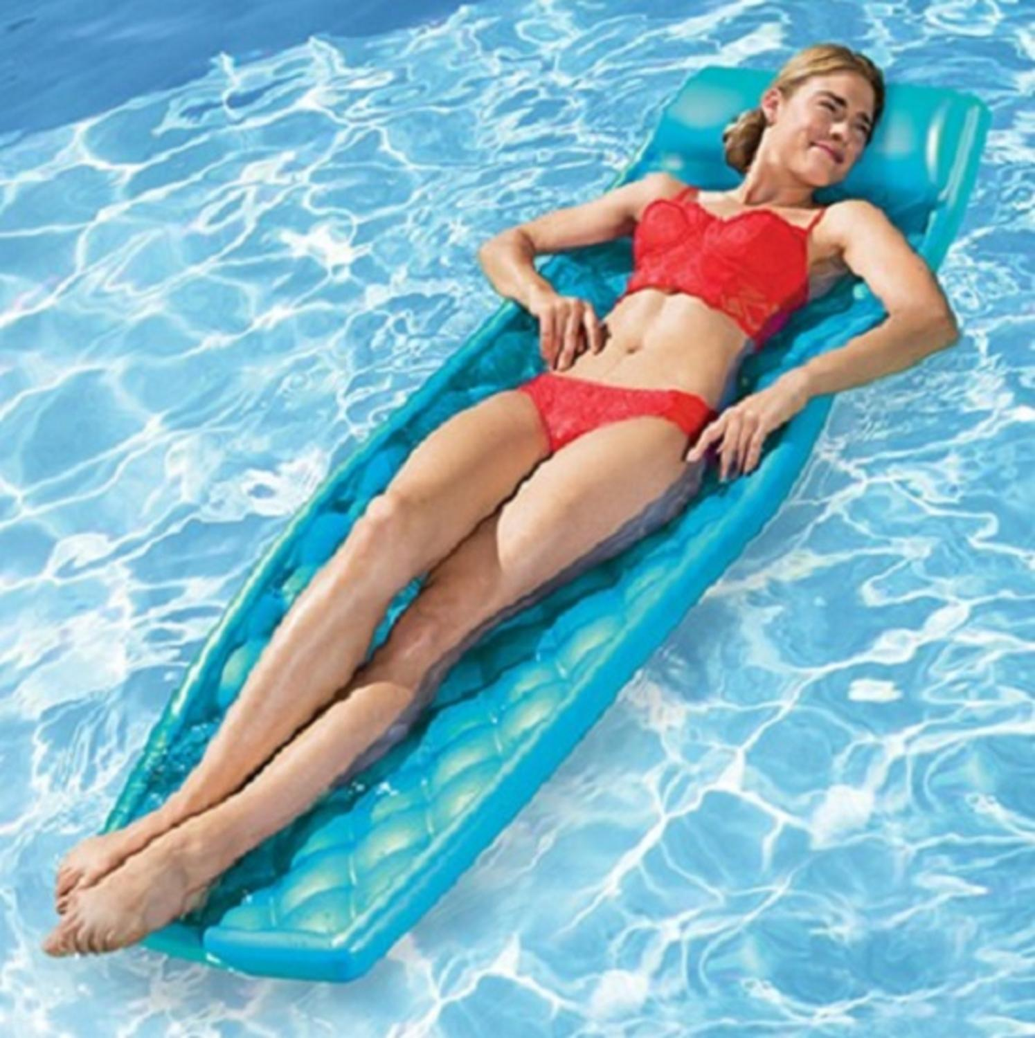 """72"""" Quilted Aquamarine Blue Aquaria Solana Swimming Pool Water Lounger - image 1 of 2"""
