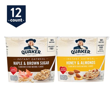 Quaker Instant Oatmeal Express Cups, Variety Pack, Maple & Brown Sugar and Honey & Almonds, 12