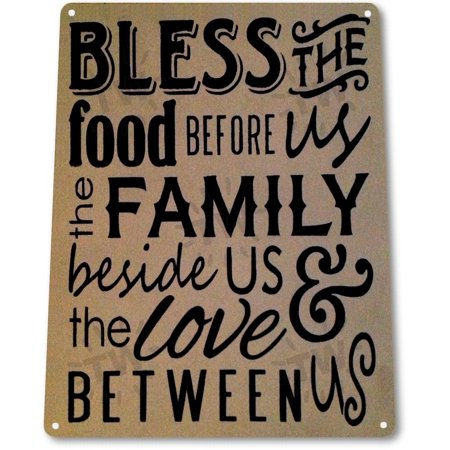Asl Food Signs - TIN SIGN A016 Bless the Food Before Us Beach House Kitchen Cottage Farm Rustic Metal Decor, By Tin World