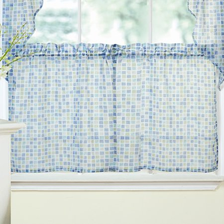 Tiles Block Sheer Kitchen Curtains Tiers, Swag and Valance Set 24\