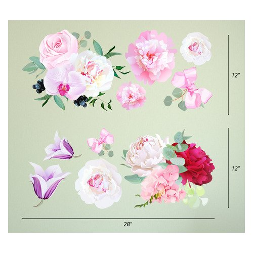 Innovative Stencils Peony Flowers Seasonal Bouquet Wall Decal