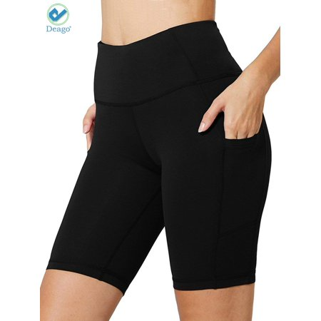 Deago Women's High Waist Workout Yoga Pants Running Compression Shorts Tummy Control Side Pockets