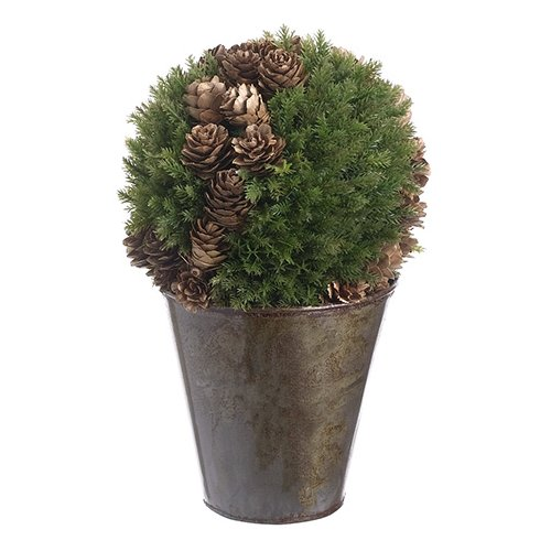 The Holiday Aisle Cedar and Cone Ball Topiary in Pot