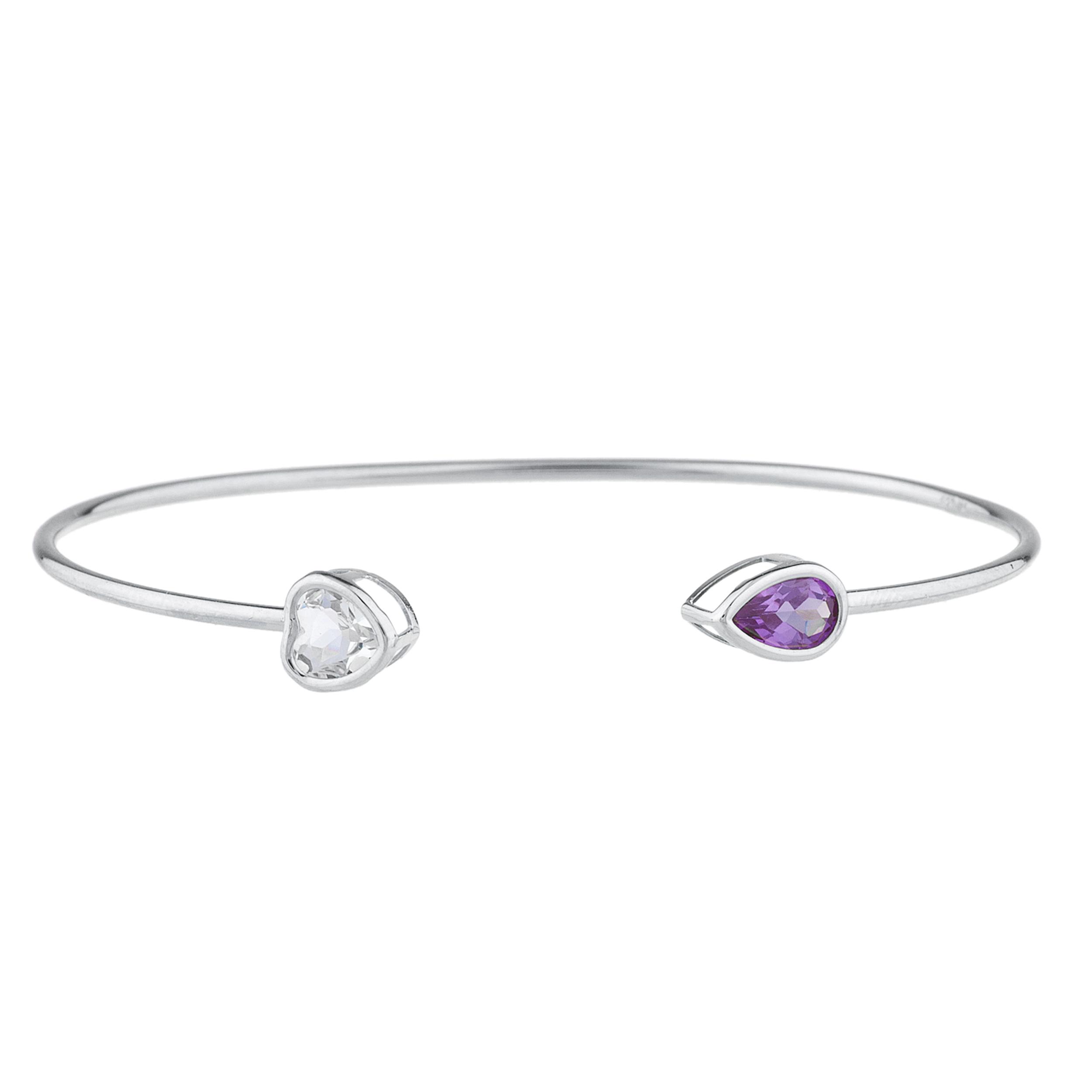 Genuine Aquamarine Heart & Amethyst Pear Bezel Bangle Bracelet .925 Sterling Silver Rhodium Finish by Elizabeth Jewelry Inc