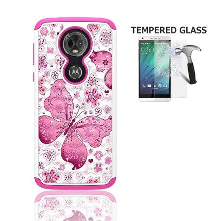 Phone Case for Motorola Moto E5 Supra, Motorola Moto E5 Plus, Studded Rhinestone Diamond Bling Cover Case + Tempered Glass Screen Protector (White-Pink