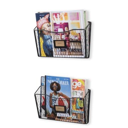 Wall Mount Magazine Rack and File Folder Holder - Office Supplies Holder and Desk Drawer Organizer - Black - Set of 2 ()