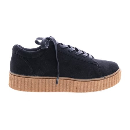 Stealthy01M by Bamboo, Black Suede Classic Round Toe Lace Up Flats With Platform Ribbed Tooling Sneaker