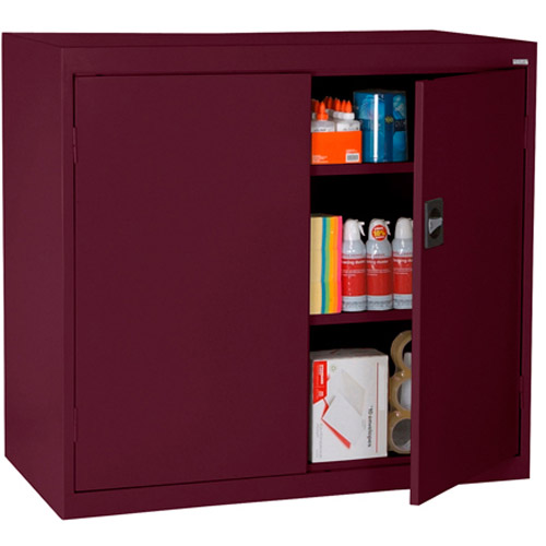 """Elite Series Counter Height Storage Cabinet with Adjustable Shelves, 46""""W x 24""""D x 42""""H, Burgundy"""
