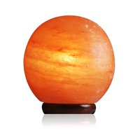 Salt Gems Himalayan Salt Lamp Globe Shaped Hand Carved Pink Decoration Lamp with Wood Base, Electric Cord and 25 Watt Bulb