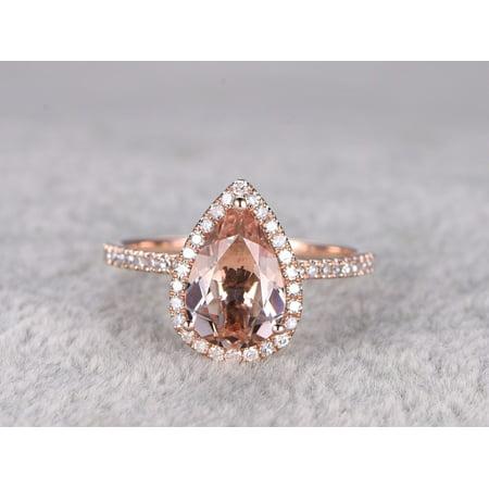 Huge 3 Carat Pear Cut Morganite and Diamond Halo Engagement Ring in Rose (Si2 Pear Cut Diamond Solitaire)