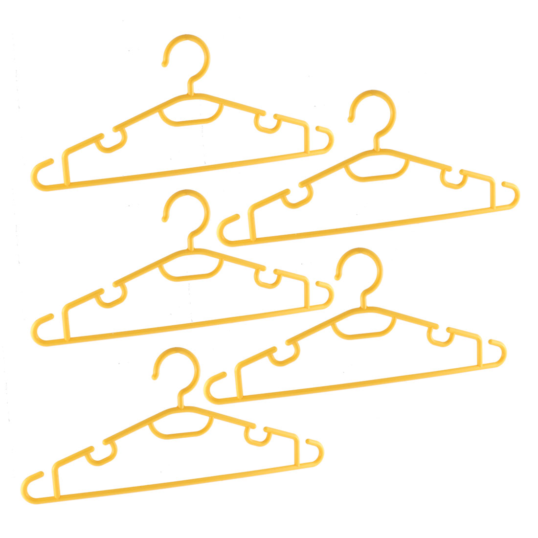 Unique Bargains 5 Pcs Plastic Household Portable Nonslip Multipurpose Hangers Yellow