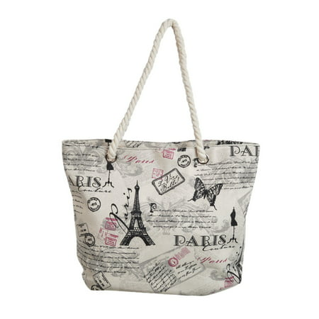 Premium Large Paris Eiffel Butterfly Print Canvas Tote Shoulder Bag Handbag