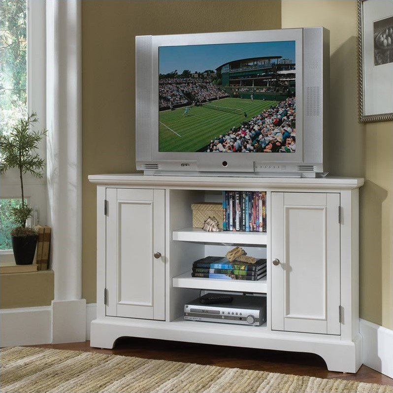 """Home Styles Naples 50"""" Corner Entertainment Credenza in White - image 2 of 2"""