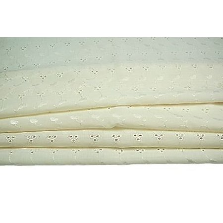 "65% Poly 35% Cotton Blend Embroidered Eyelet Lace Allover Fabric 40""-41 Ivory"