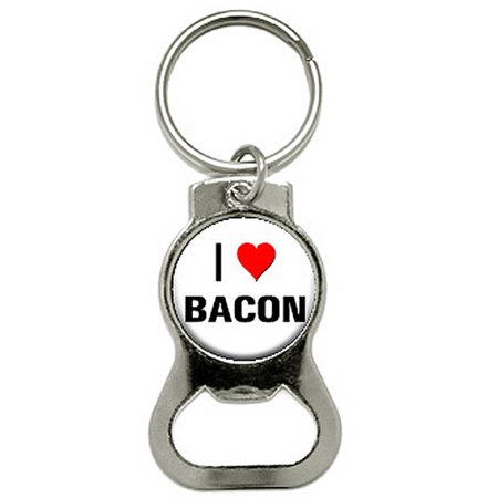 i love heart bacon bottle cap opener keychain ring. Black Bedroom Furniture Sets. Home Design Ideas